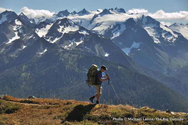 A backpacker in the northern Bailey Range, Olympic National Park.