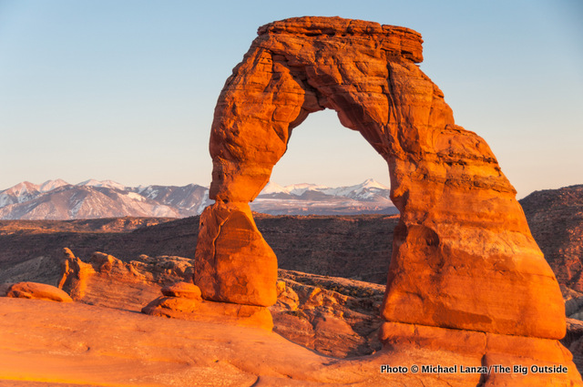 Sunset at Delicate Arch in Arches National Park.