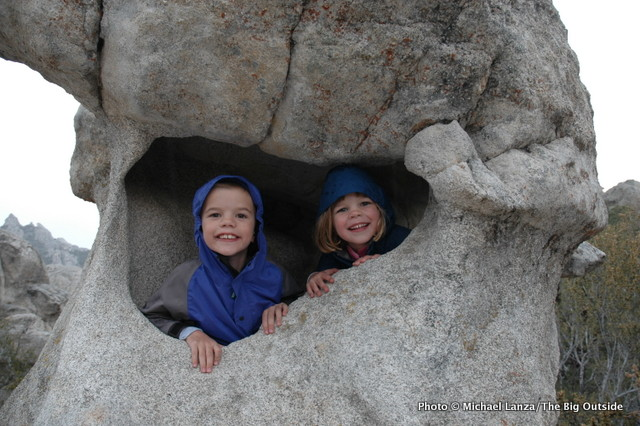 Young kids in nature in Idaho's City of Rocks National Reserve.