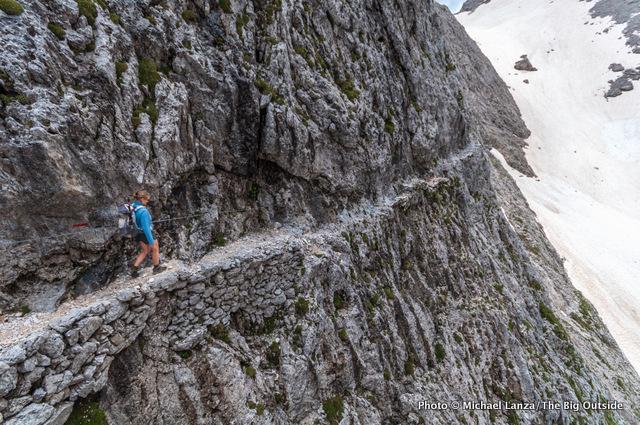 Trekking the Alta Via 2 in Parco Naturale Paneveggio Pale di San Martino, Dolomite Mountains.