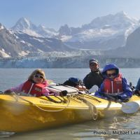 Michael Lanza's family in Johns Hopkins Inlet, Glacier Bay National Park.