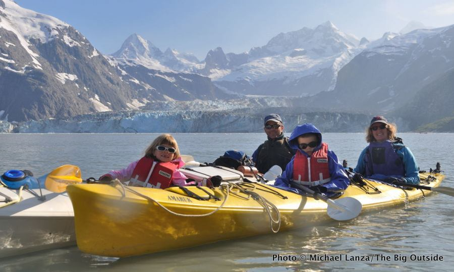 The Big Outside's Michael Lanza sea kayaking with his family in Johns Hopkins Inlet, Glacier Bay National Park.