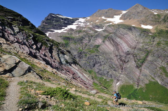 A backpacker on the Gunsight Pass Trail, Glacier National Park.