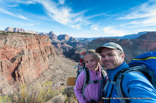 Father and daughter backpacking in the Grand Canyon.