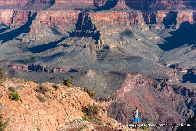 A hiker near Skeleton Point on the Grand Canyon's South Kaibab Trail.