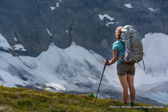 A woman backpacker on the Rockwall Trail, Kootenay National Park, Canada.