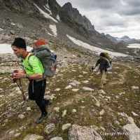 Backpackers in Titcomb Basin, in Wyoming's Wind River Range.