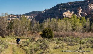 A backpacker on the Peavine Canyon Trail, Dark Canyon Wilderness, Utah.
