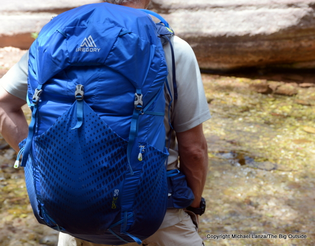 The Gregory Optic 58 ultralight backpack in the Grand Canyon.