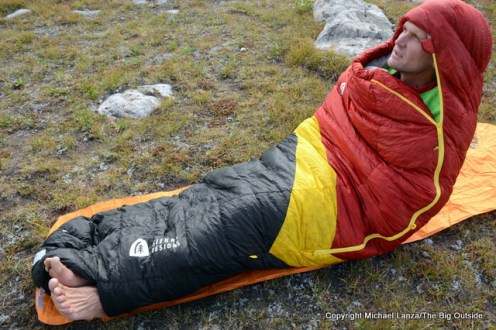Sierra Designs Nitro 800 20-Degree sleeping bag.