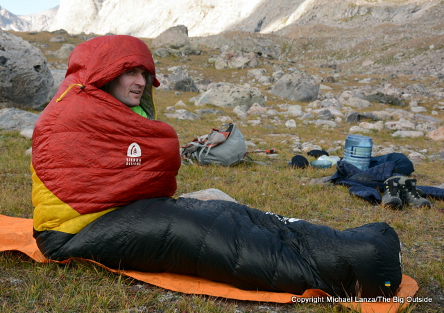 The Sierra Designs Nitro 800 20-degree sleeping bag.