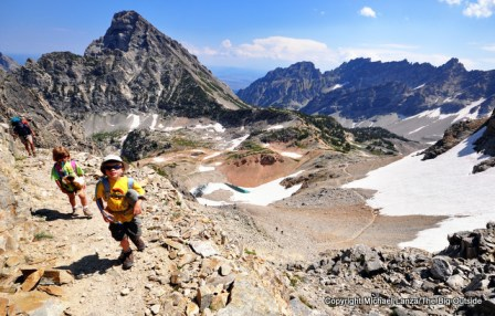 Young kids hiking to Paintbrush Divide, Grand Teton National Park.