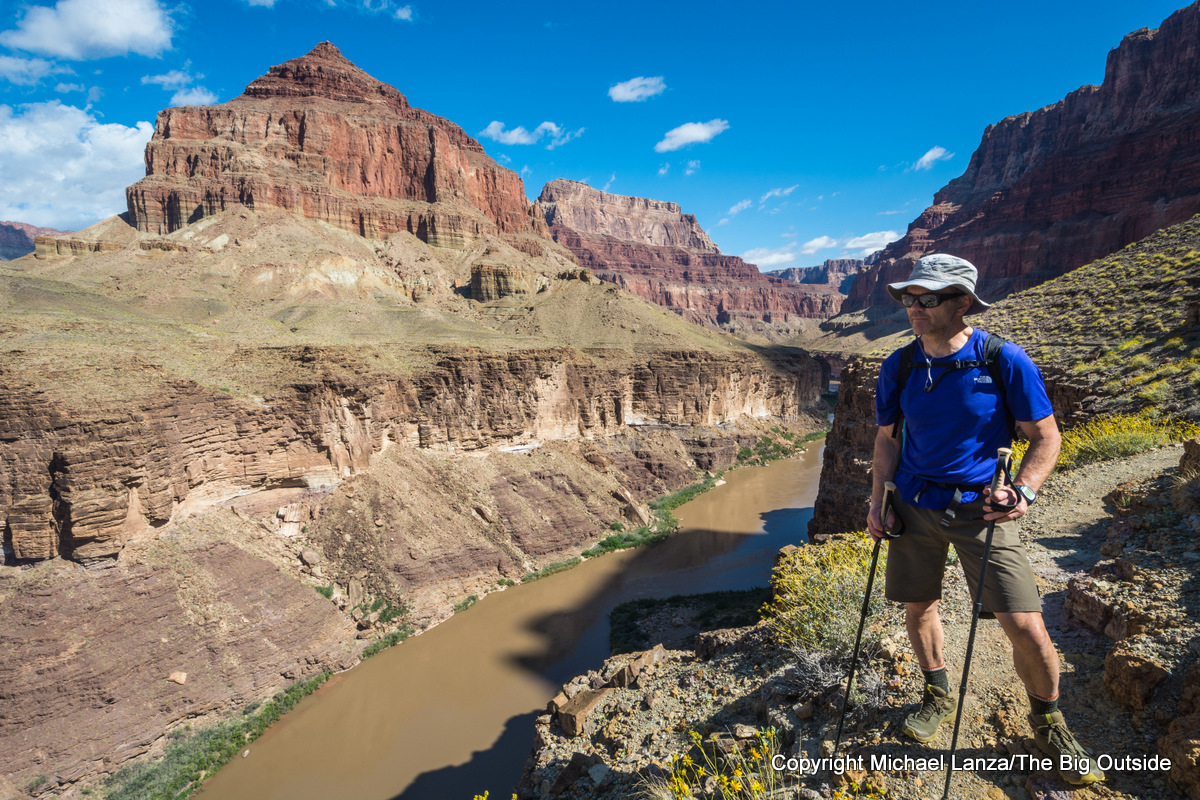 The North Face Hyperlayer FD Short-Sleeve Crew and Flylow Hardcastle Short in the Grand Canyon.