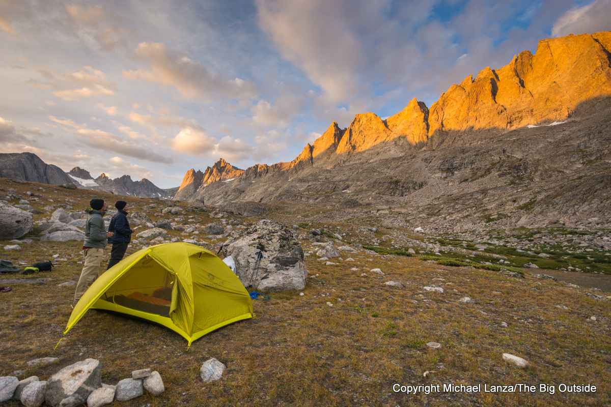 Backpackers at a campsite in Titcomb Basin, Wind River Range, Wyoming.