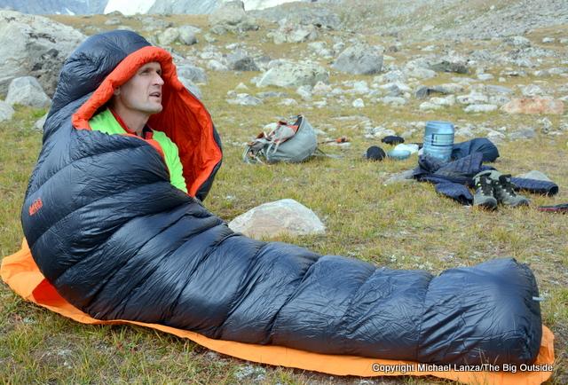 The REI Magma 10 sleeping bag in the Wind River Range.