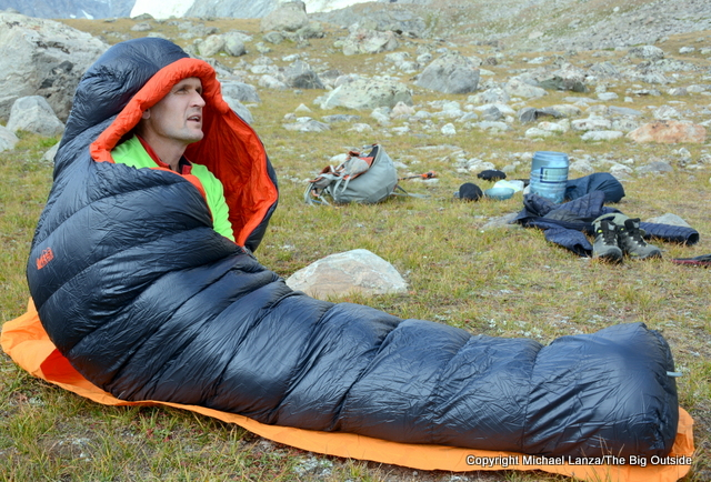The REI Magma 10 sleeping bag in the Wind River Range.