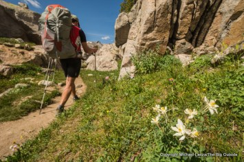 A backpacker on the Titcomb Basin Trail, Wind River Range, Wyoming.