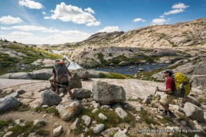 Backpackers on the Titcomb Basin Trail, Wind River Range, Wyoming.