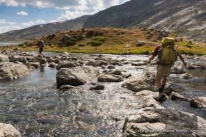 Backpackers in Titcomb Basin, Wind River Range, Wyoming.