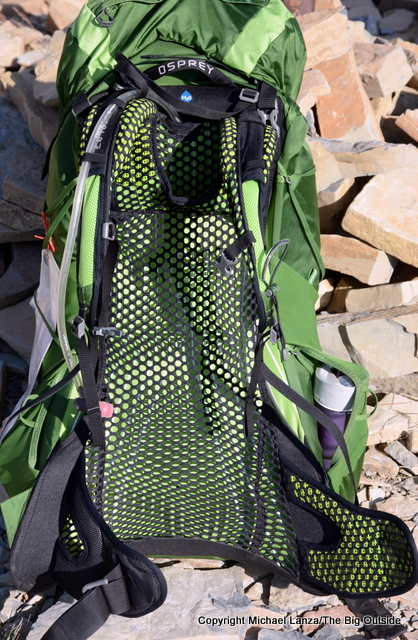 Osprey Exos 58 harness and back panel.