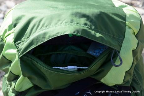 Osprey Exos 58 lid pocket.