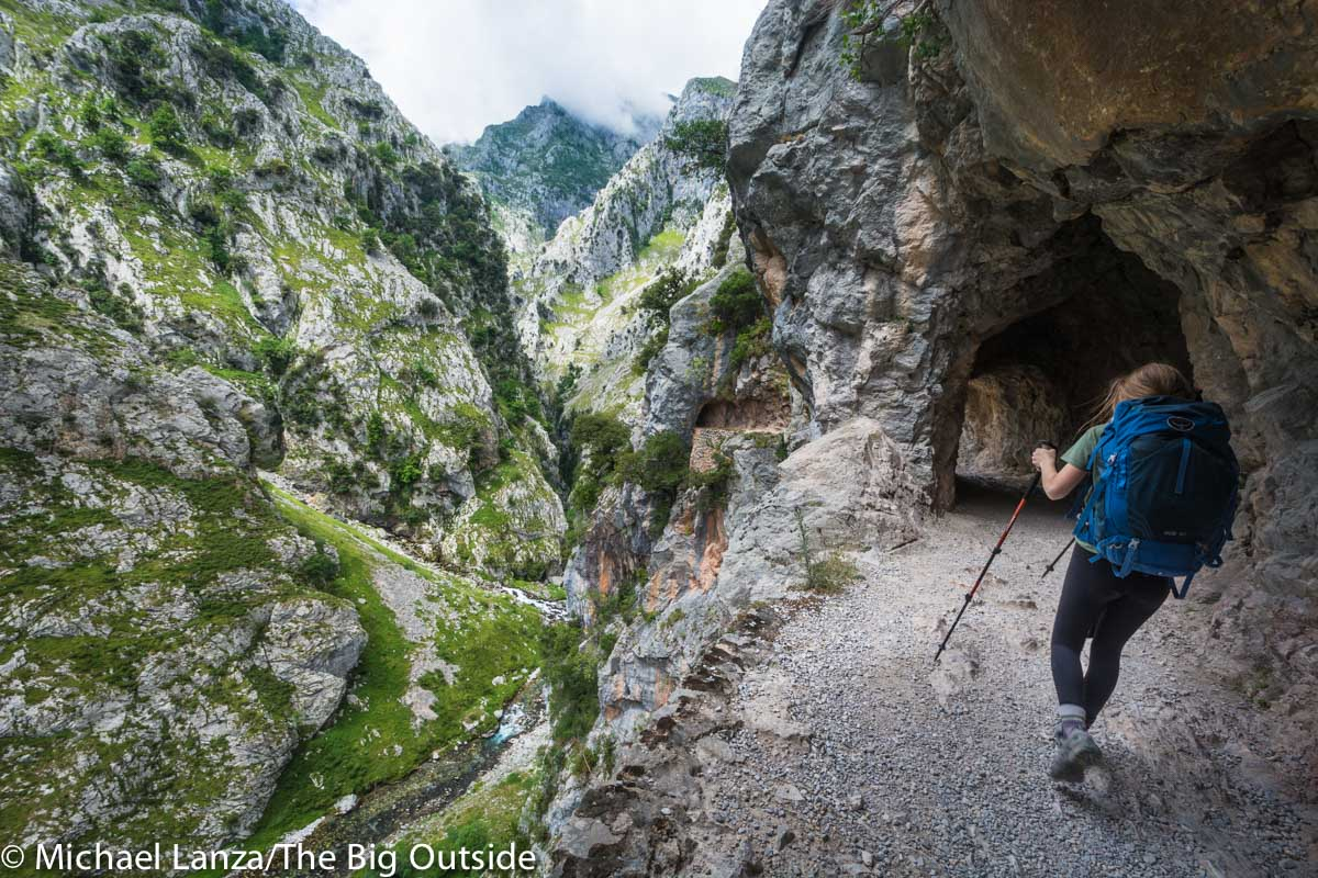 A hiker in the Cares Gorge, in northern Spain's Picos de Europa National Park.