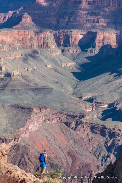A hiker near Skeleton Point, South Kaibab Trail, Grand Canyon.