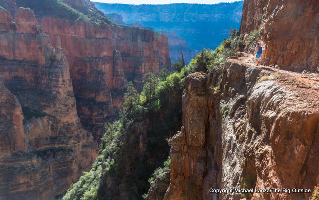 A hiker on the North Kaibab Trail, Grand Canyon.