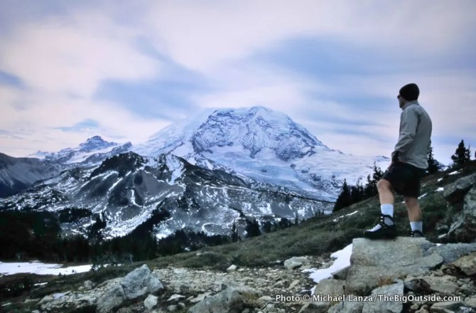 The view of Mount Rainier from Crescent Mountain on the Northern Loop.
