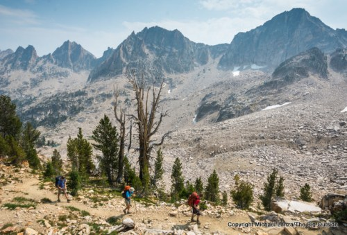 Backpackers near Cramer Divide in Idaho's Sawtooth Mountains.