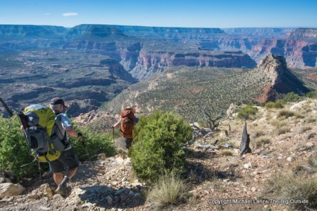 Backpackers on the Bill Hall Trail, Grand Canyon.