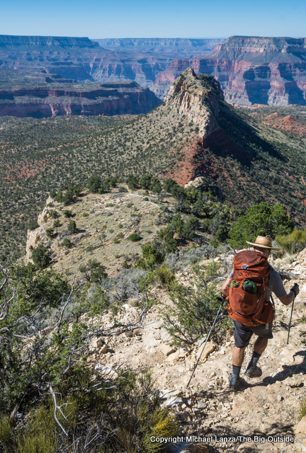 A backpacker on the Bill Hall Trail, Grand Canyon.