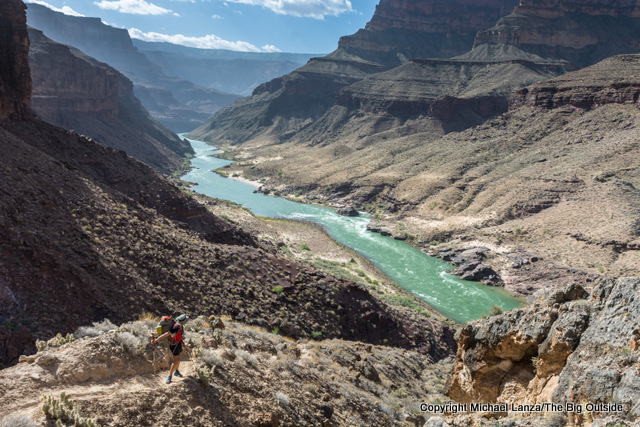 A backpacker on the Grand Canyon's Thunder River-Deer Creek Loop.