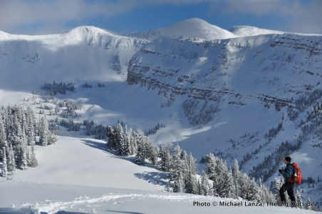 A backcountry skier at Baldy Knoll in Wyoming's Tetons Range.