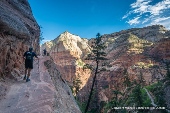Hikers on the Hidden Canyon Trail in Zion National Park.