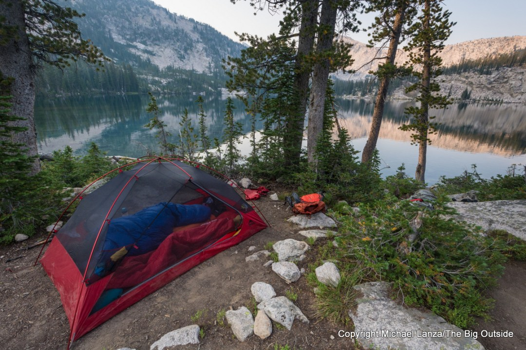 The MSR Zoic 2 backpacking tent in Idaho's Sawtooth Mountains.