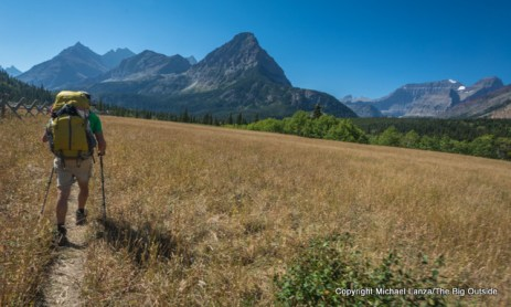 Backpacker in the Belly River Valley, Glacier National Park.