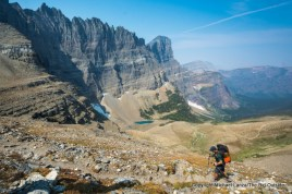 A backpacker on the Piegan Pass Trail in Glacier National Park.