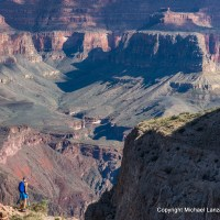 A rim-to-rim hiker near Skeleton Point on the Grand Canyon's South Kaibab Trail.
