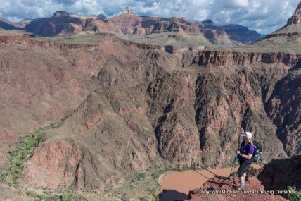 A hiker on the lower South Kaibab Trail, Grand Canyon.