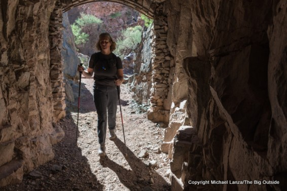 A hiker in the tunnel on the lower South Kaibab Trail in the Grand Canyon.