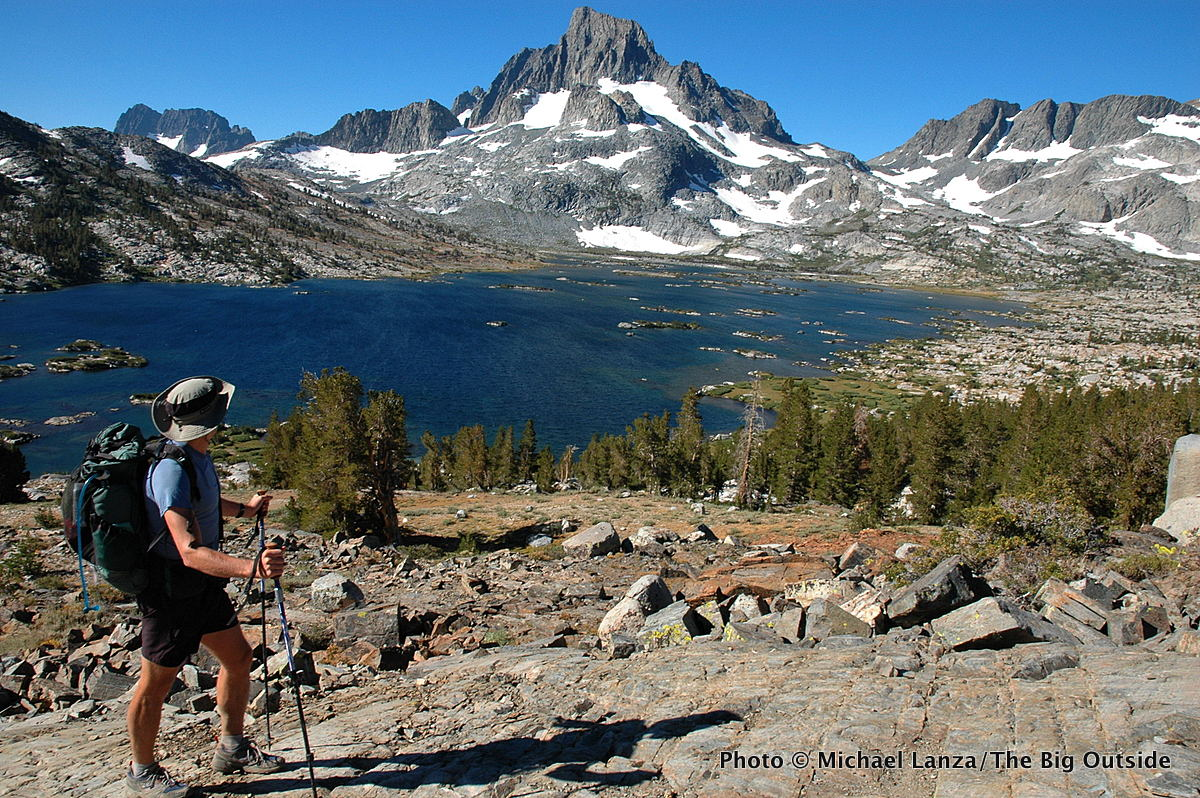 A backpacker on the John Muir Trail above Thousand Island Lake in the Ansel Adams Wilderness.
