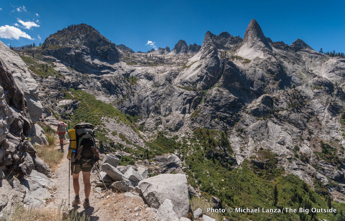 Backpackers on the High Sierra Trail above the Middle Fork Kaweah River in Sequoia National Park.