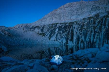 A campsite at Precipice Lake in Sequoia National Park.