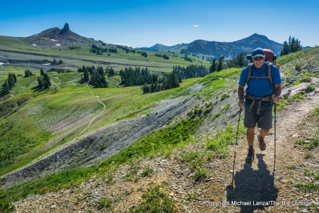 A backpacker on the Teton Crest Trail in Grand Teton National Park.