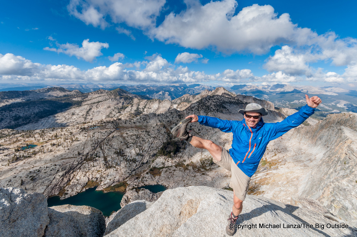 Michael Lanza of The Big Outside on the summit of Mouint Hoffmann, Yosemite National Park.