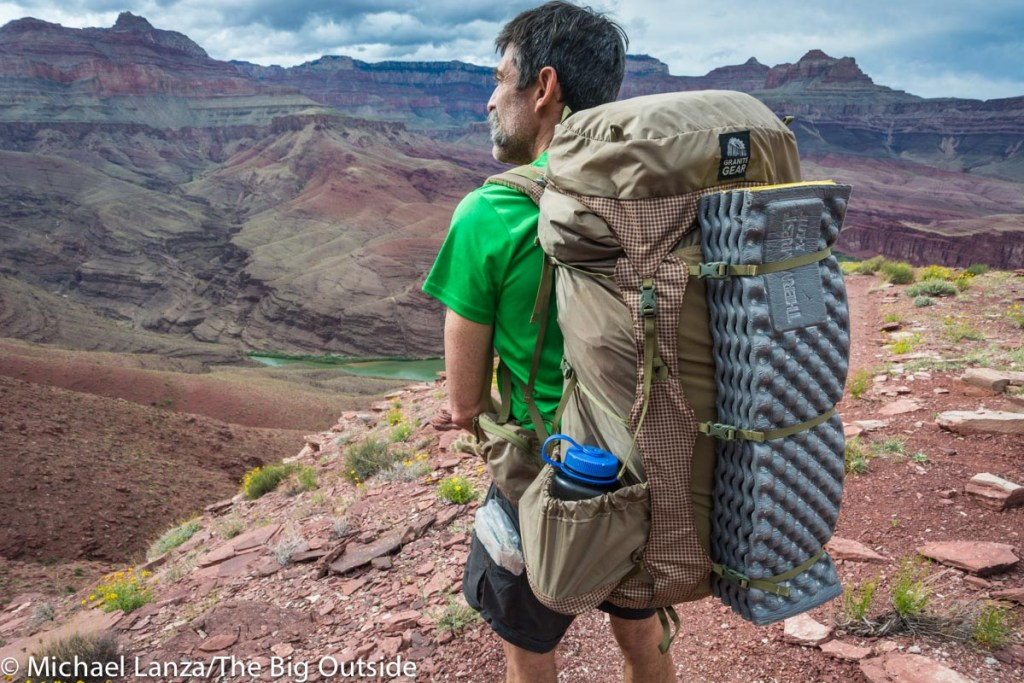 The Granite Gear Blaze 60 backpack in the Grand Canyon.