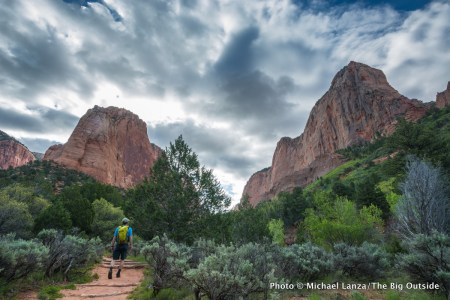 A hiker on the Taylor Creek Trail in Zion National Park.