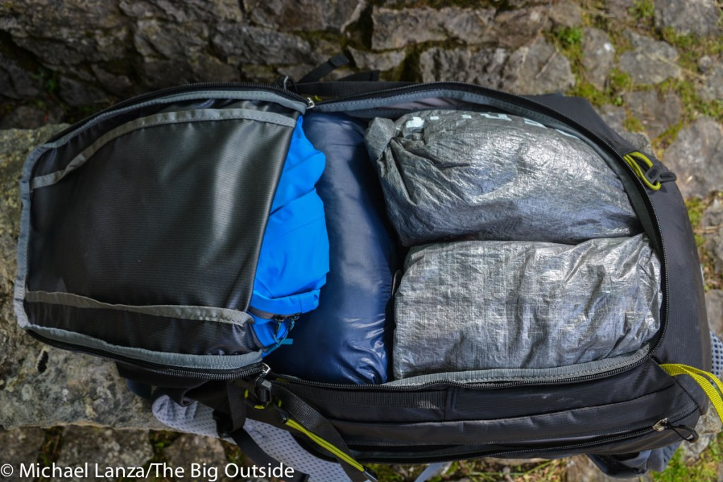 The Deuter Trail Pro 36 front panel zipper.