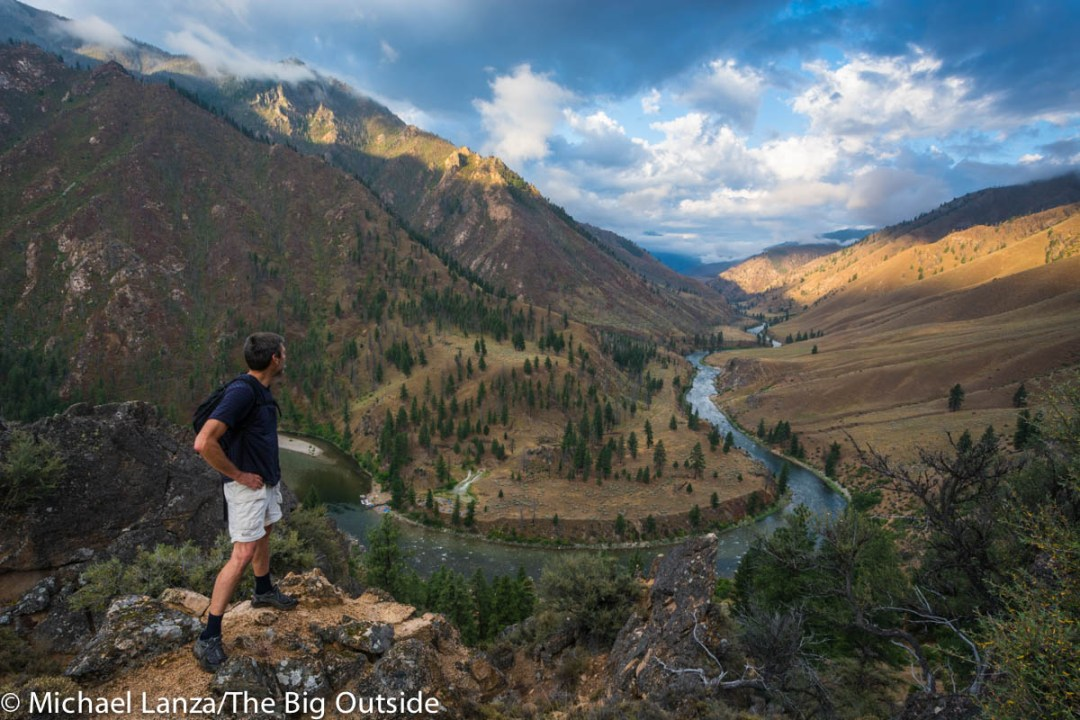 A hiker above the Middle Fork Salmon River in Idaho's Frank Church-River of No Return Wilderness.